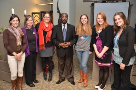 Emory students and faculty with St. Paul's University Vice Chancellor Joseph Galgalo at Community of Scholars reception, November 2012